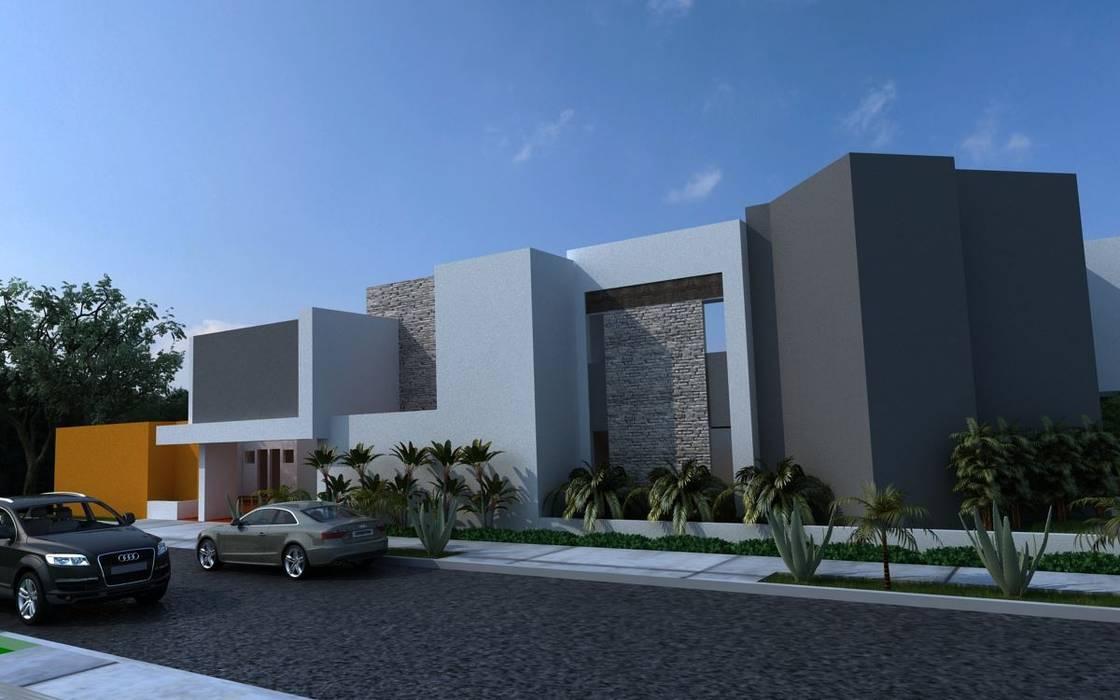 FACHADA PRINCIPAL RESIDENCIA RUBIO: Casas de estilo moderno por OLLIN ARQUITECTURA