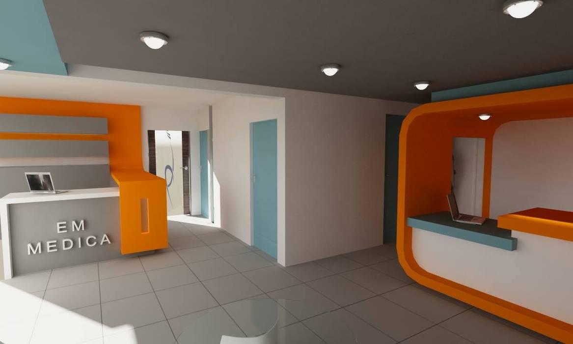 """AREA RECEPCION CLINICA """"EM MEDICA"""": Estudios y oficinas de estilo minimalista por OLLIN ARQUITECTURA"""