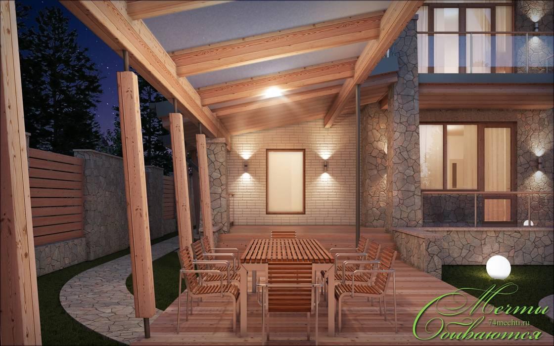 Дом с мотивами северо-западной американской архитектуры Компания архитекторов Латышевых 'Мечты сбываются' Терраса в колониальном стиле