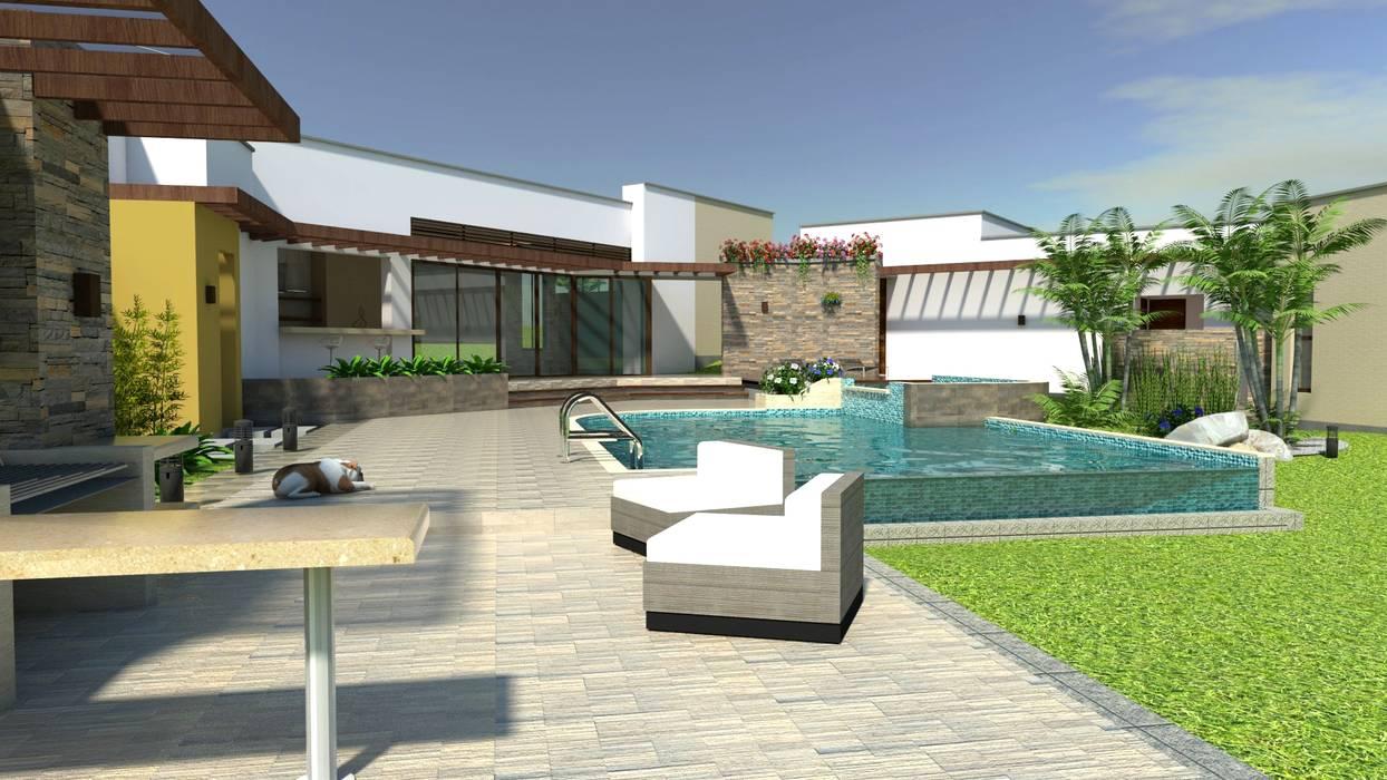 Zona húmeda, piscina, Bbq, terrazas, deck: Piscinas de estilo  por Arquitecto Pablo Restrepo, Moderno