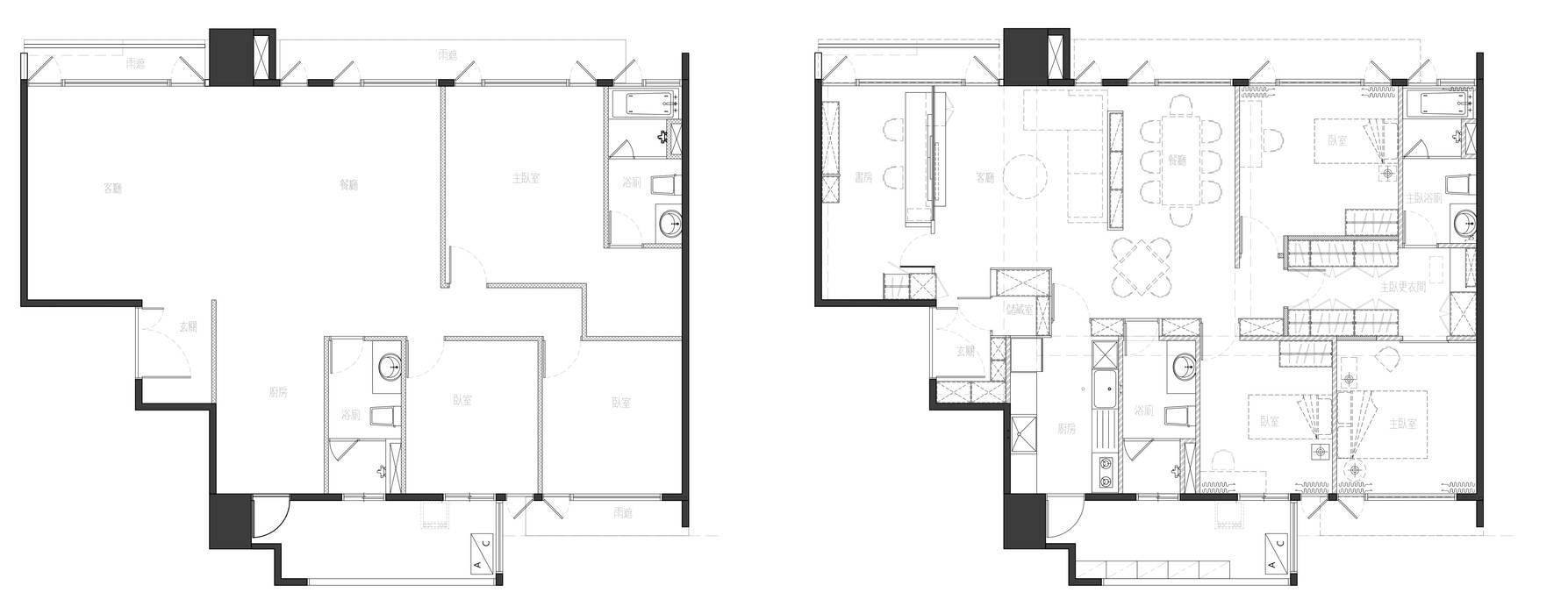 原始平面圖與改造後平面圖 現代房屋設計點子、靈感 & 圖片 根據 大丘國際空間設計 ABMIDS 現代風