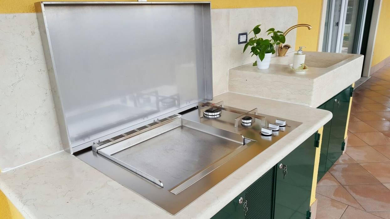 Barbecue da incasso a gas con piastra di cottura tutto in acciaio inox cucina in stile di - Piastra in acciaio inox per cucinare ...