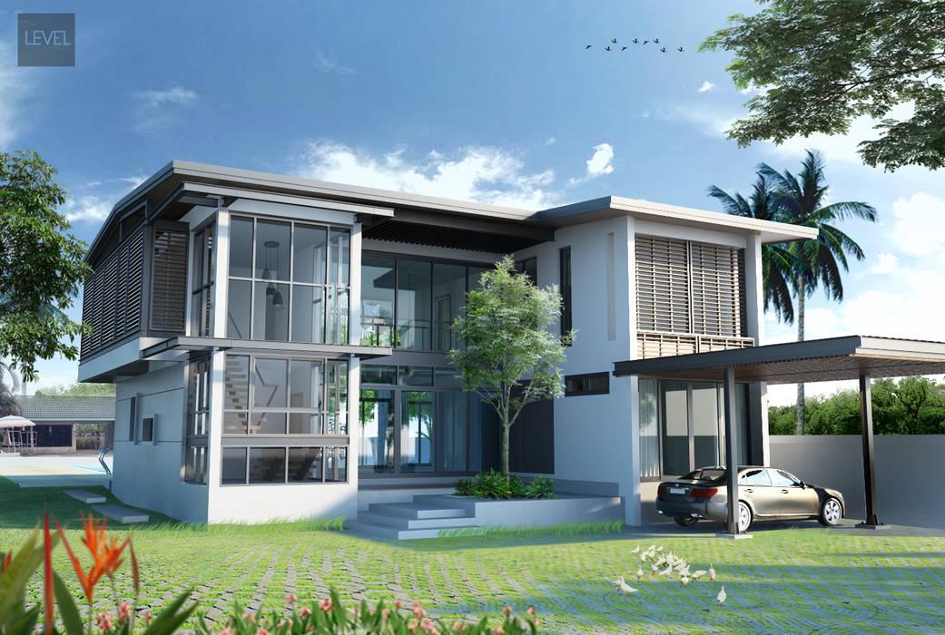 ทัศนียภาพภายนอกมองจากฝั่งถนนเข้ามายังตัวบ้าน โดย LEVEL ARCHITECT โมเดิร์น