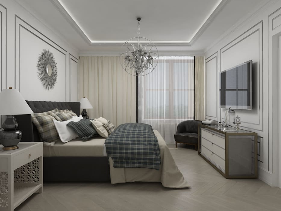 Chambre moderne par Студия дизайна интерьера в Москве 'Юдин и Новиков' Moderne