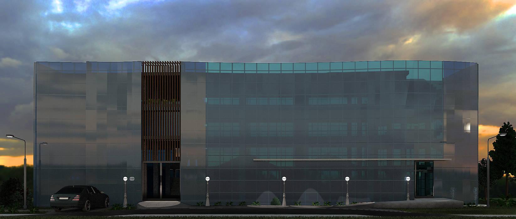 vista frontal Arquing3d Salas multimedia de estilo moderno Vidrio Azul
