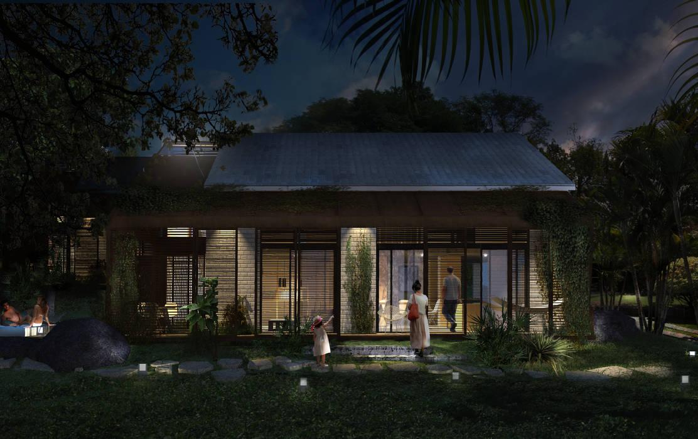 FACHADA FILTRANTE NOCHE Casas de estilo tropical de SUPERFICIES Estudio de arquitectura y construccion Tropical