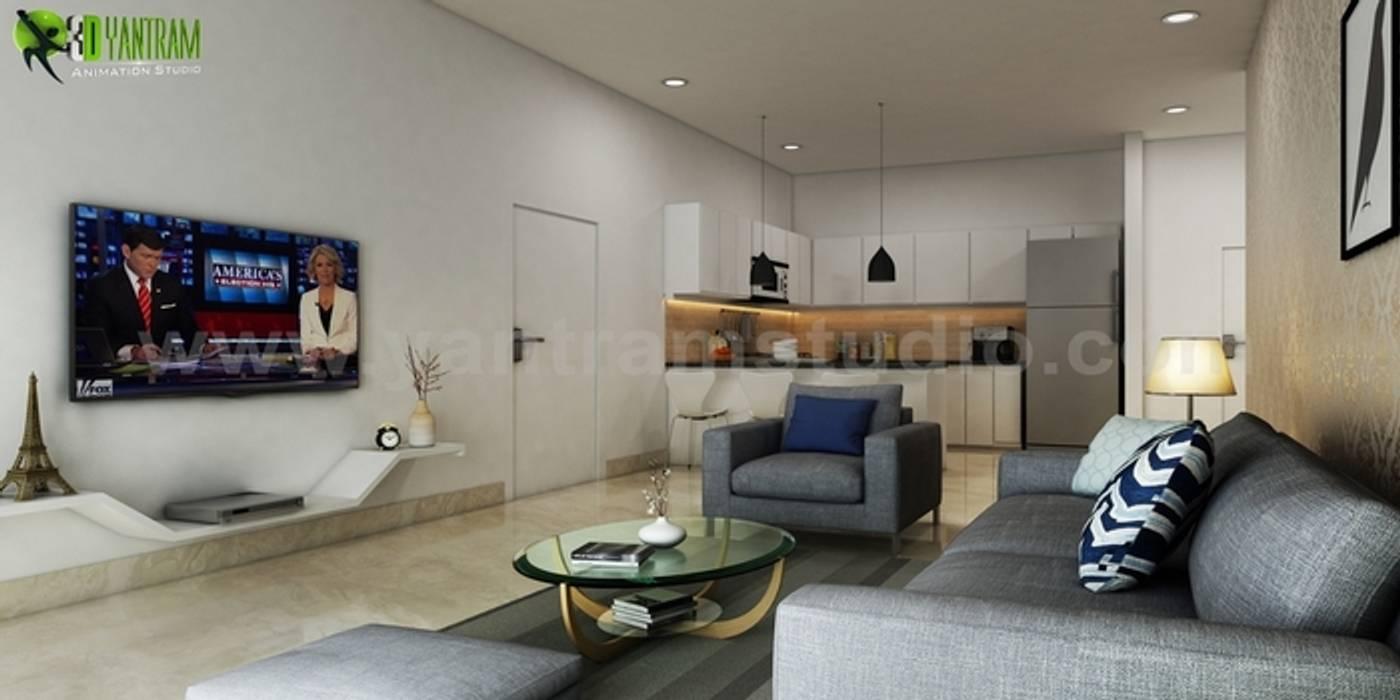 Un moderno soggiorno e cucina interior design: in stile di ...