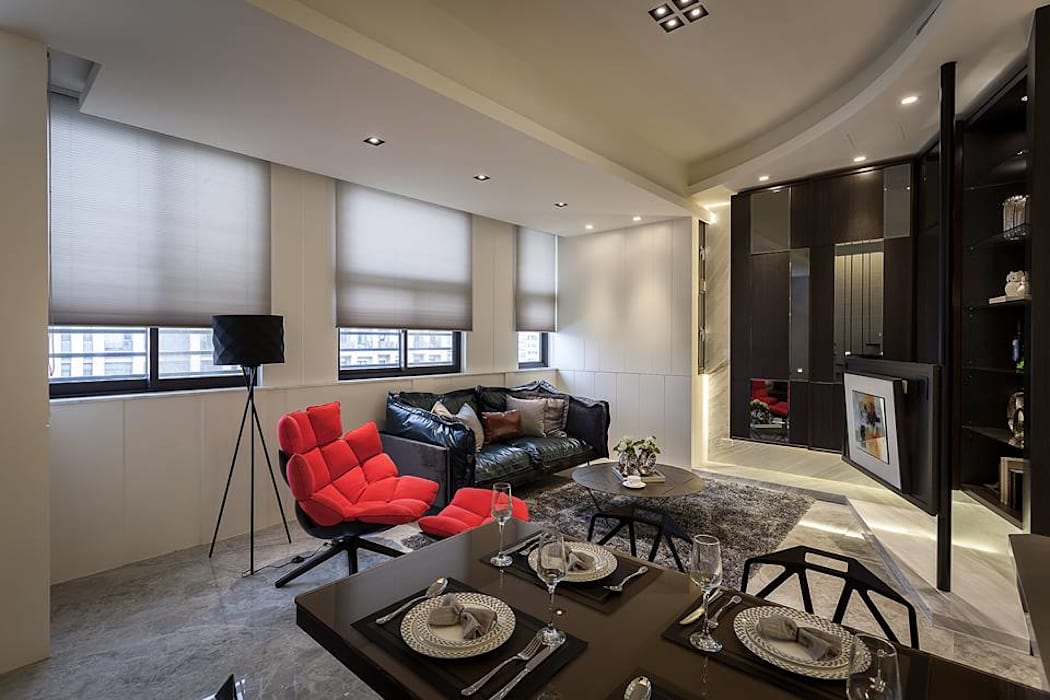 開放空間 现代客厅設計點子、靈感 & 圖片 根據 你你空間設計 現代風