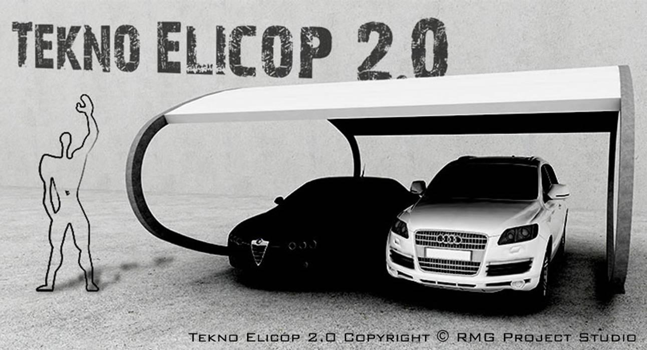TEKNO ELICOP 2.0 Tettoia - Copertura per Auto e Giardino   metallica, modulare, personalizzabile: Garage/Rimessa in stile in stile Moderno di RMG Project Studio
