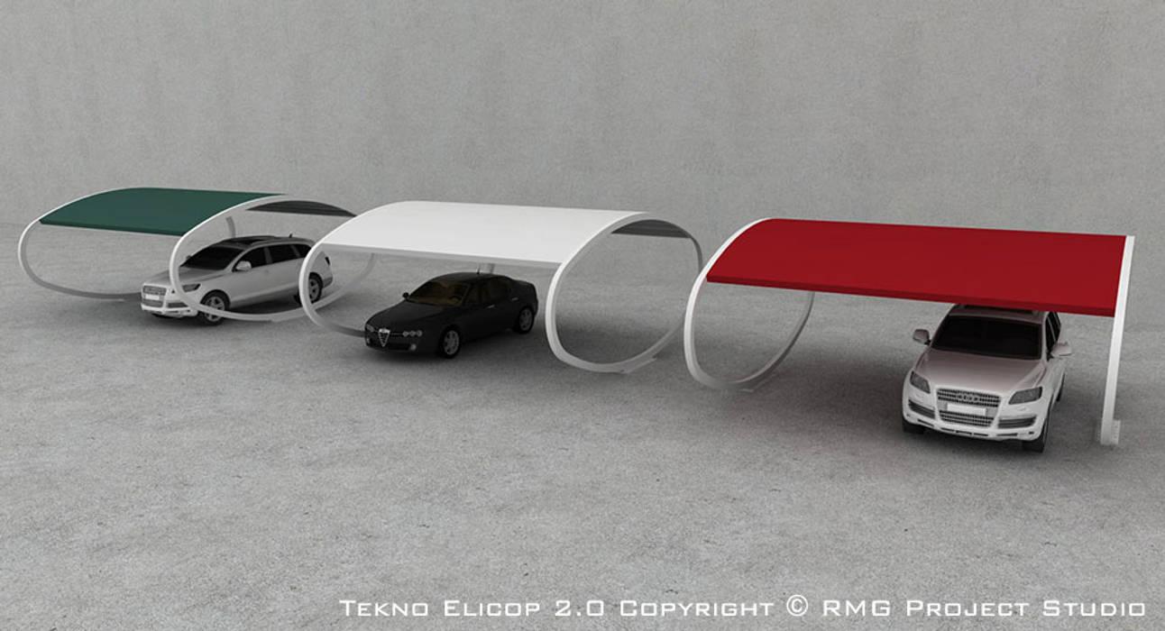 TEKNO ELICOP 2.0 Tettoia - Copertura per Auto e Giardino | metallica, modulare, personalizzabile: Garage/Rimessa in stile  di RMG Project Studio