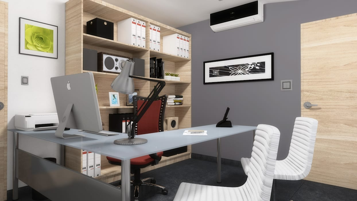 homify Office spaces & stores Grey