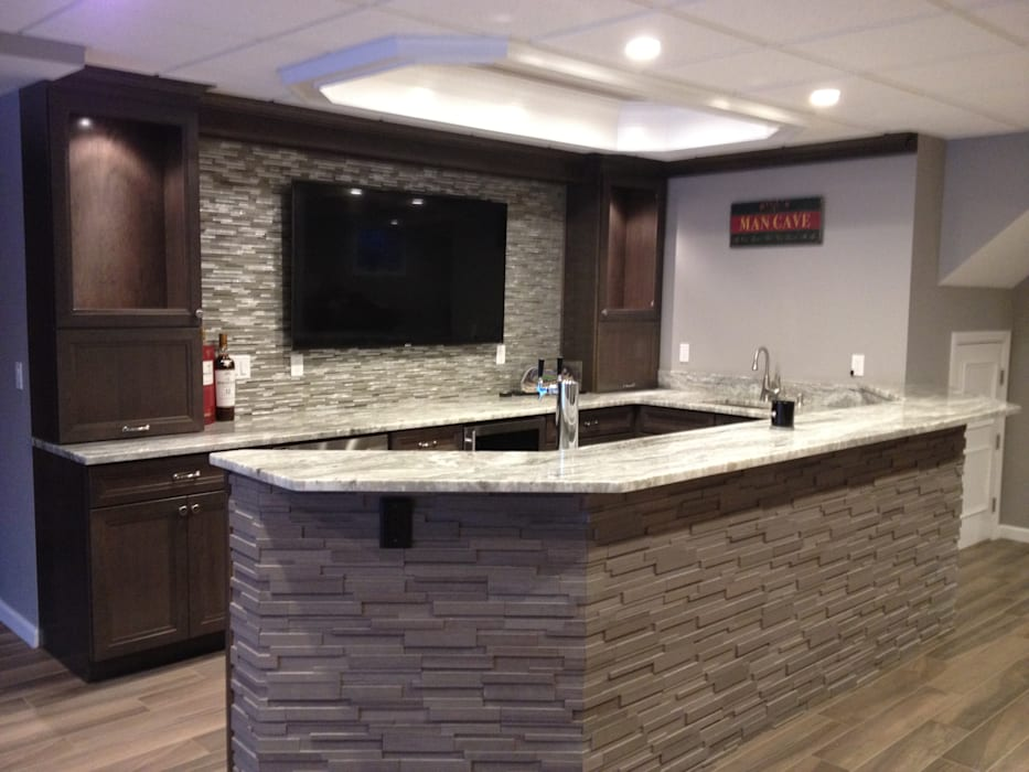 Basking Ridge Basement Bar! by Kitchen Krafter Design/Remodel Showroom Classic