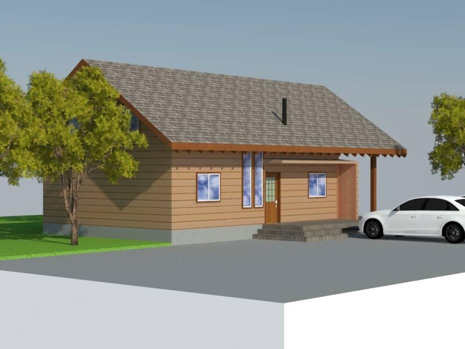 Fachada Lateral Casas de estilo rústico de Arquitectura y Construcción Chinquel Rústico Madera Acabado en madera