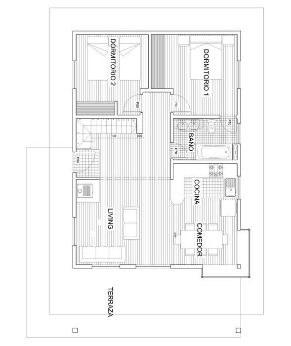 Planta 1: Comedores de estilo  por Arquitectura y Construcción Chinquel