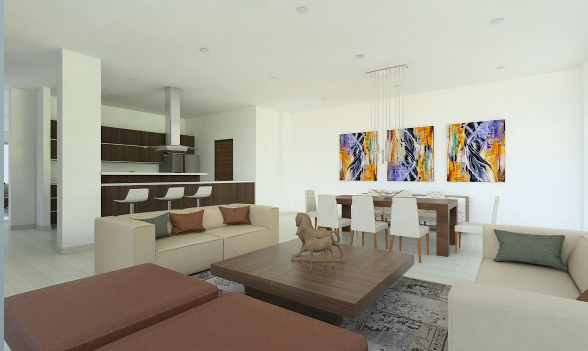 Sala - Comedor -Cocina: Salas de estilo  por Viewport - Servicio de renderizado, Moderno Madera Acabado en madera