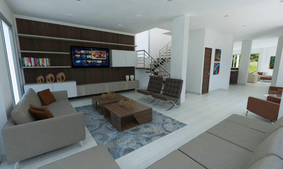 Sala de TV Salas multimedia de estilo moderno de Viewport - Servicio de renderizado Moderno Madera Acabado en madera
