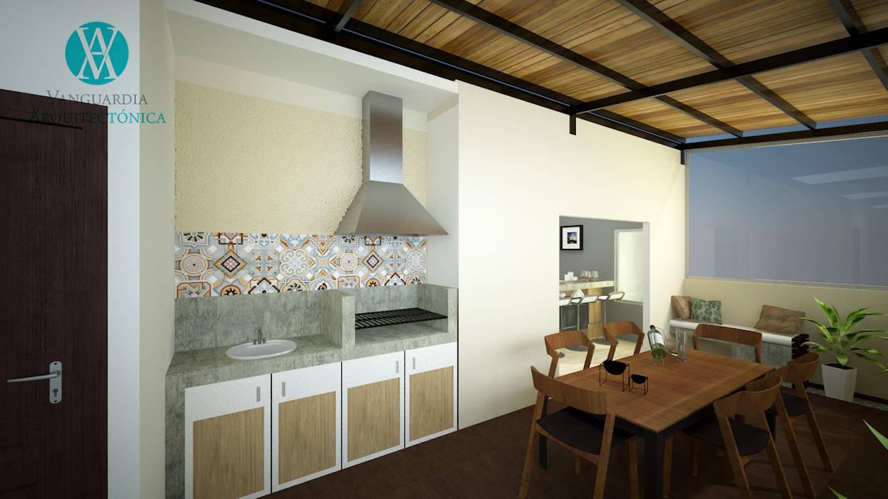 Interiorismo en apartamento Balcones y terrazas de estilo moderno de Vanguardia Arquitectónica Moderno Madera Acabado en madera