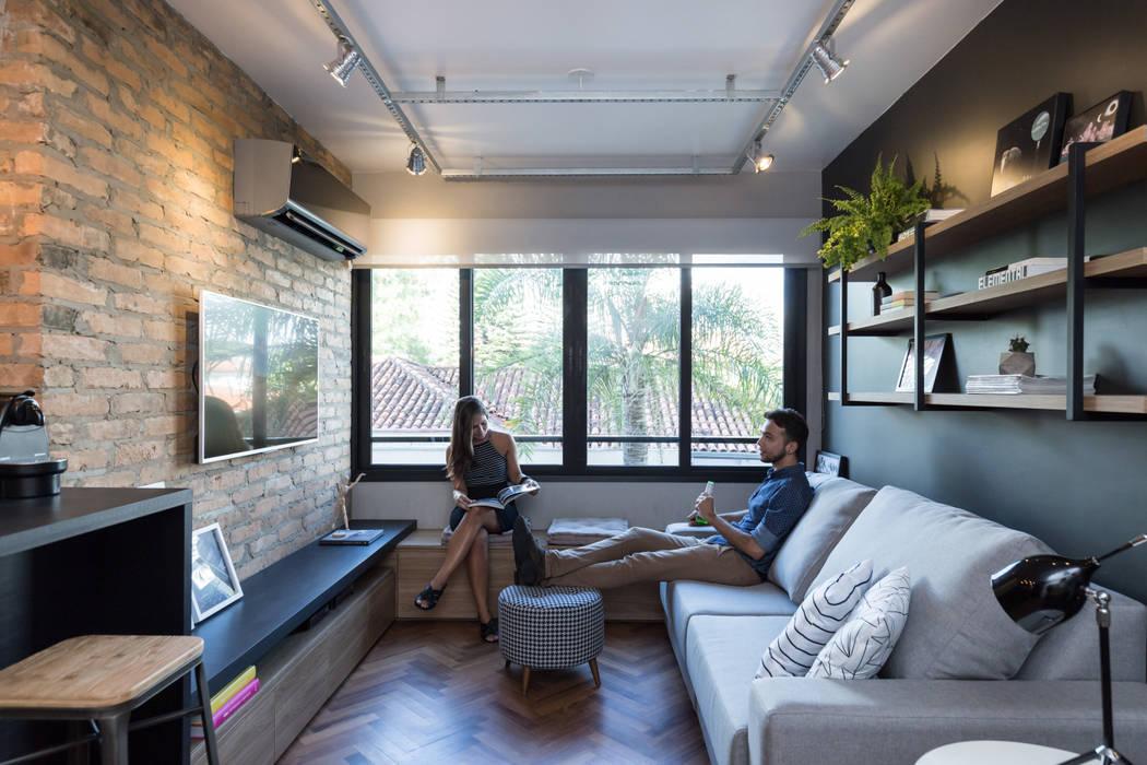 Apartamento Soho K+S arquitetos associados Salas de estar industriais