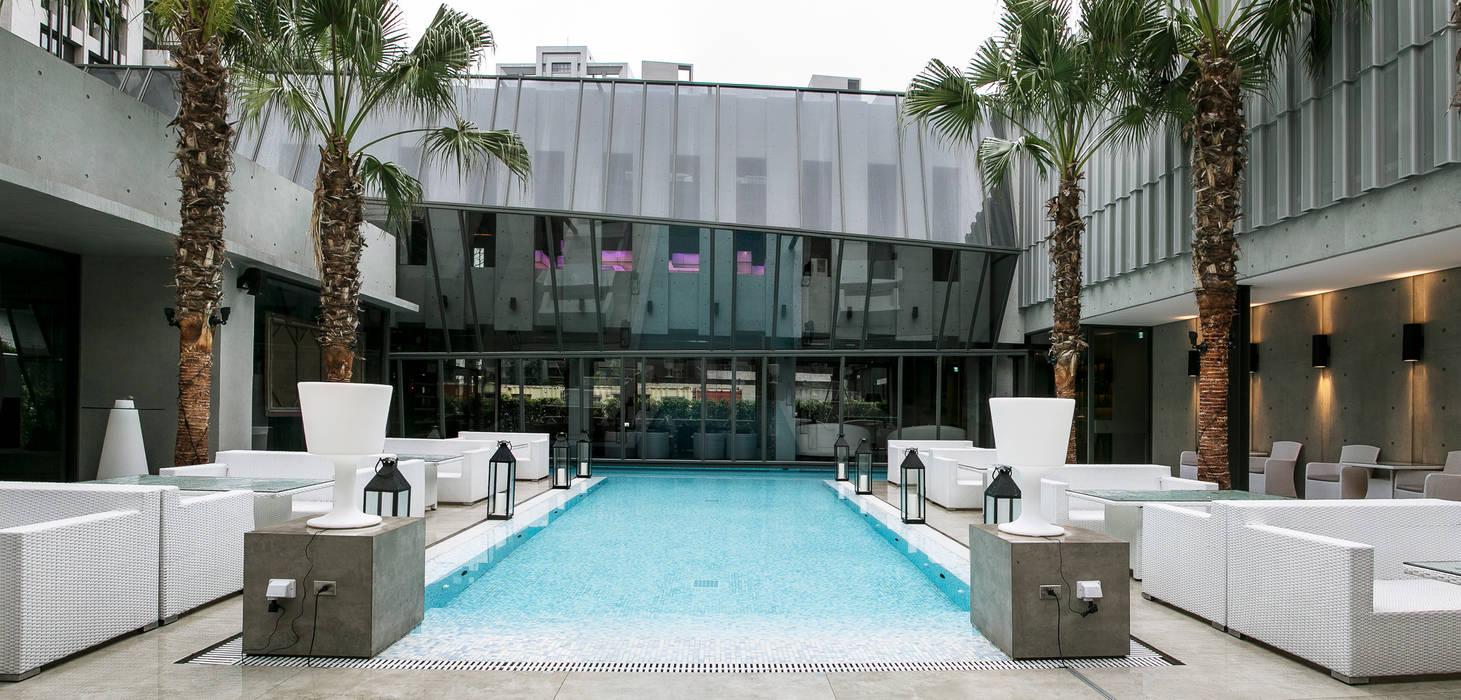 Beluga Restaurant& Bar 戶外餐區 根據 原形空間設計 現代風 玻璃