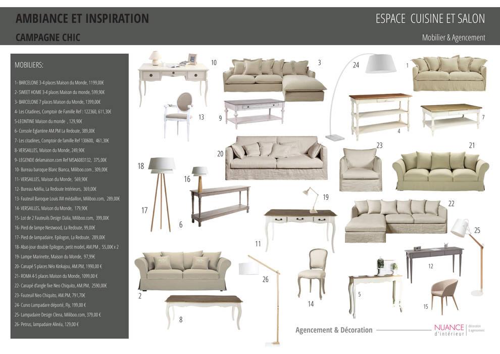 Appartement à Sartrouville: Salon de style  par Nuance d'intérieur
