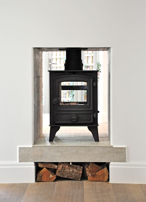 double sided wood burner : country Living room by Studio TO