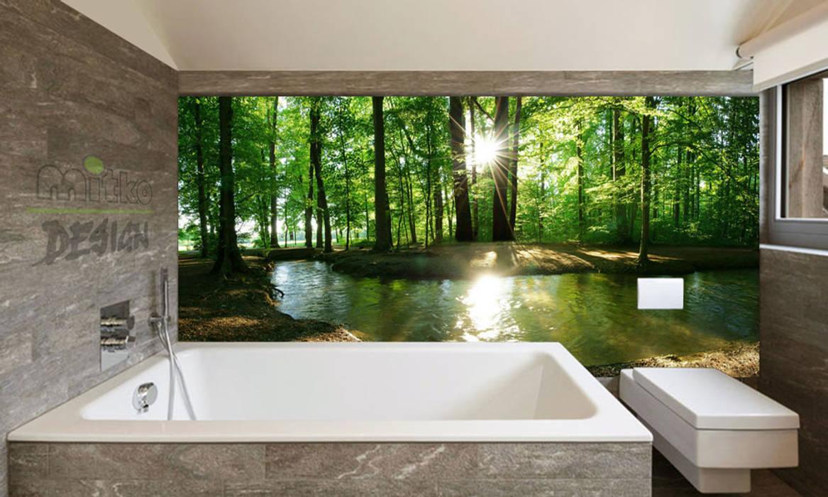 Ihre badewanne mitten im wald? – xxl glasbild im bad moderne