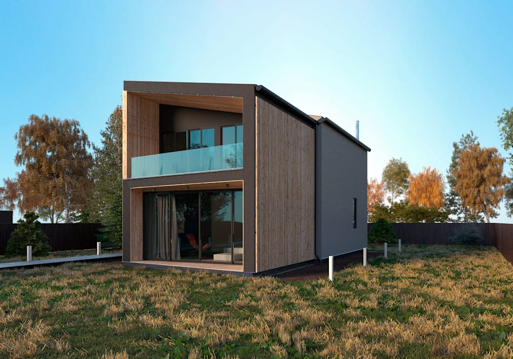 Grynevich Architects Minimalist houses Wood Black