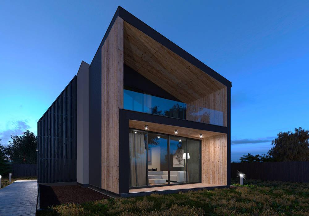 Grynevich Architects Minimalist houses Wood Black