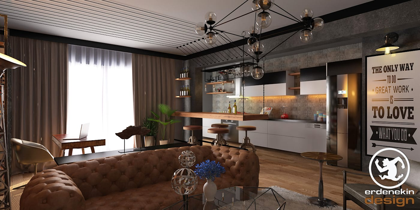 Erden Ekin Design – Açık Mutfak Bölümü:  tarz Mutfak, Endüstriyel