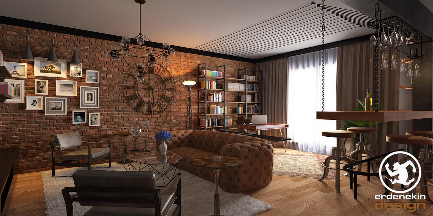 Salon Bölümü Endüstriyel Oturma Odası Erden Ekin Design Endüstriyel