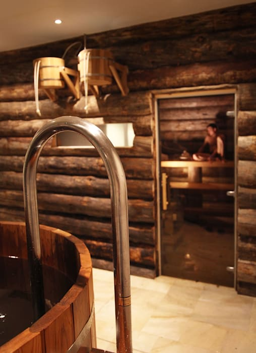 Steam room and wet zone Natalia Interior Design Steam Bath Wood Wood effect