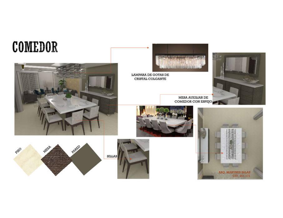 INTERIORISMO DE UNA VIVIENDA UNIFAMILIAR Comedores de estilo moderno de MAS ARQUITECTURA1 - Arq. Marynes Salas Moderno