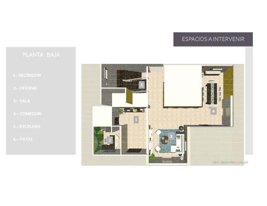 Areas a Desarrollar en PB: Casas de estilo moderno por Arq. Marynes Salas