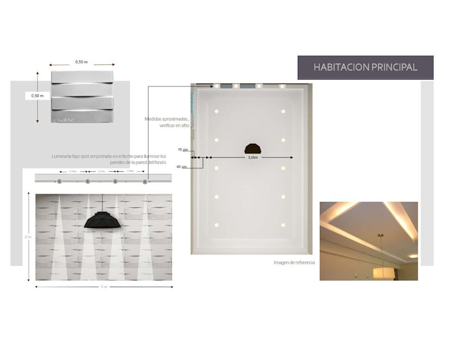 Iluminacion de Hab. Principal: Cuartos de estilo  por Arq. Marynes Salas