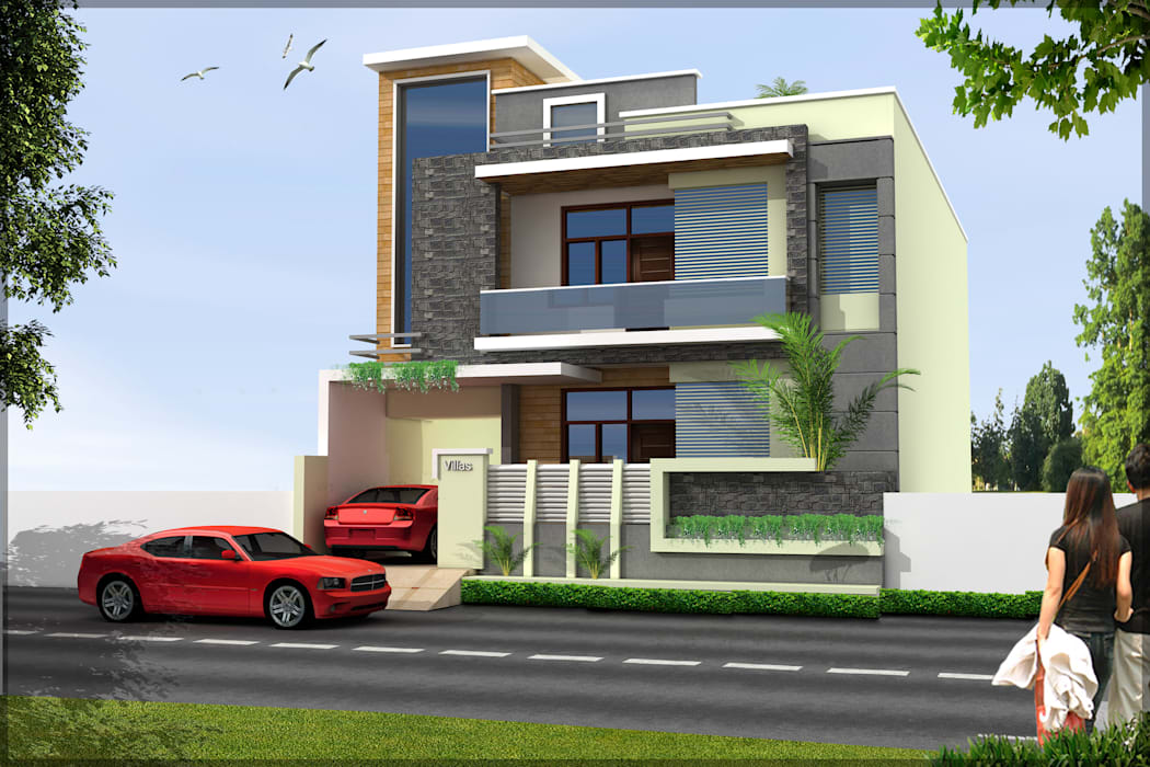 Residence front Elevation:  Houses by Shitiz architects,Modern