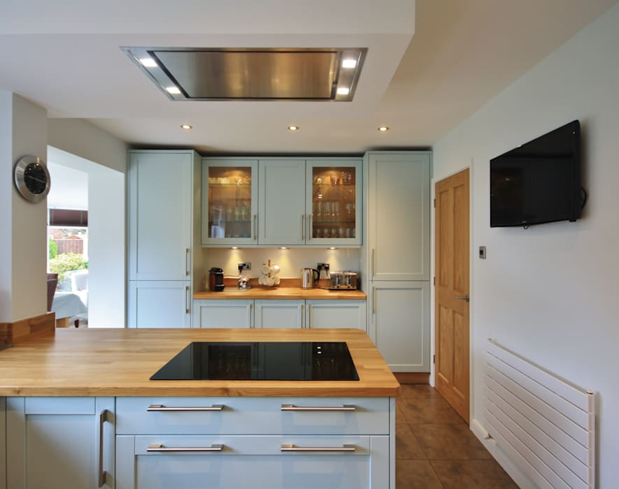 Bespoke Powder Blue Mixed with Natural Oak, Kitchen & Utility Completed Design:  Kitchen by Kitchencraft