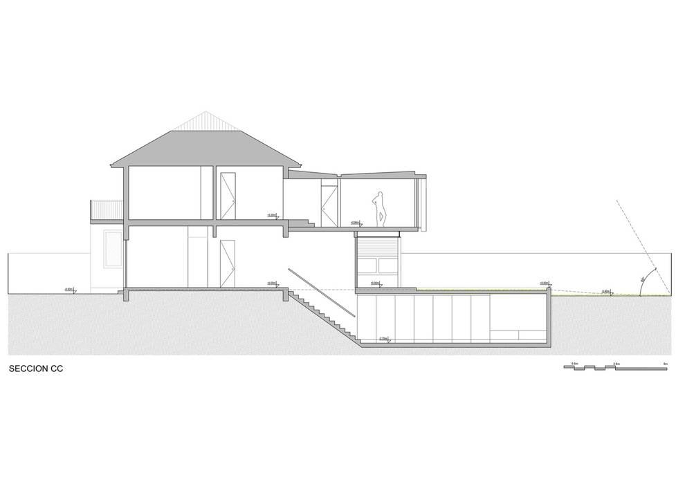 seccion longitudinal Casas estilo moderno: ideas, arquitectura e imágenes de Thomas Löwenstein arquitecto Moderno Concreto