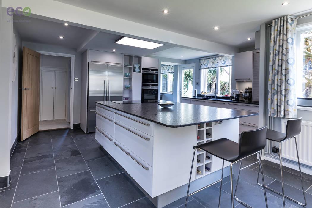 Stunning open plan Satin Grey kitchen : modern Kitchen by Eco German Kitchens