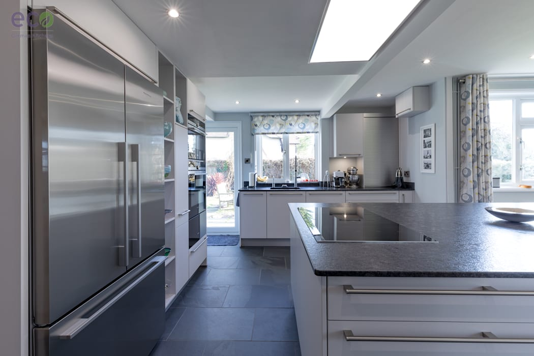 Stunning open plan Satin Grey kitchen :  Kitchen by Eco German Kitchens