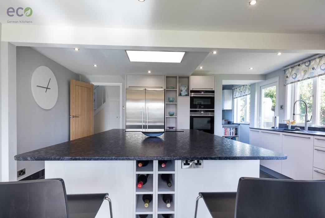 Stunning open plan Satin Grey kitchen :  Kitchen by Eco German Kitchens