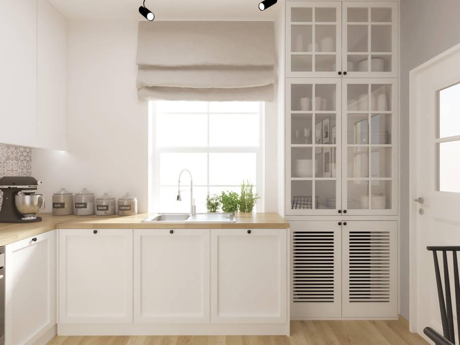 Biała kuchnia z drewnianym blatem Rustykalna kuchnia od SO INTERIORS ARCHITEKTURA WNĘTRZ Rustykalny Drewno O efekcie drewna