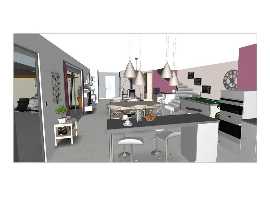Aménagement du rez-de-chaussée d\'une maison contemporaine: cuisine ...