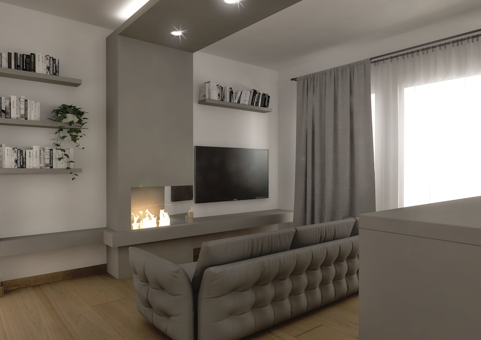 Architetto Luigia Pace Modern living room Wood Beige