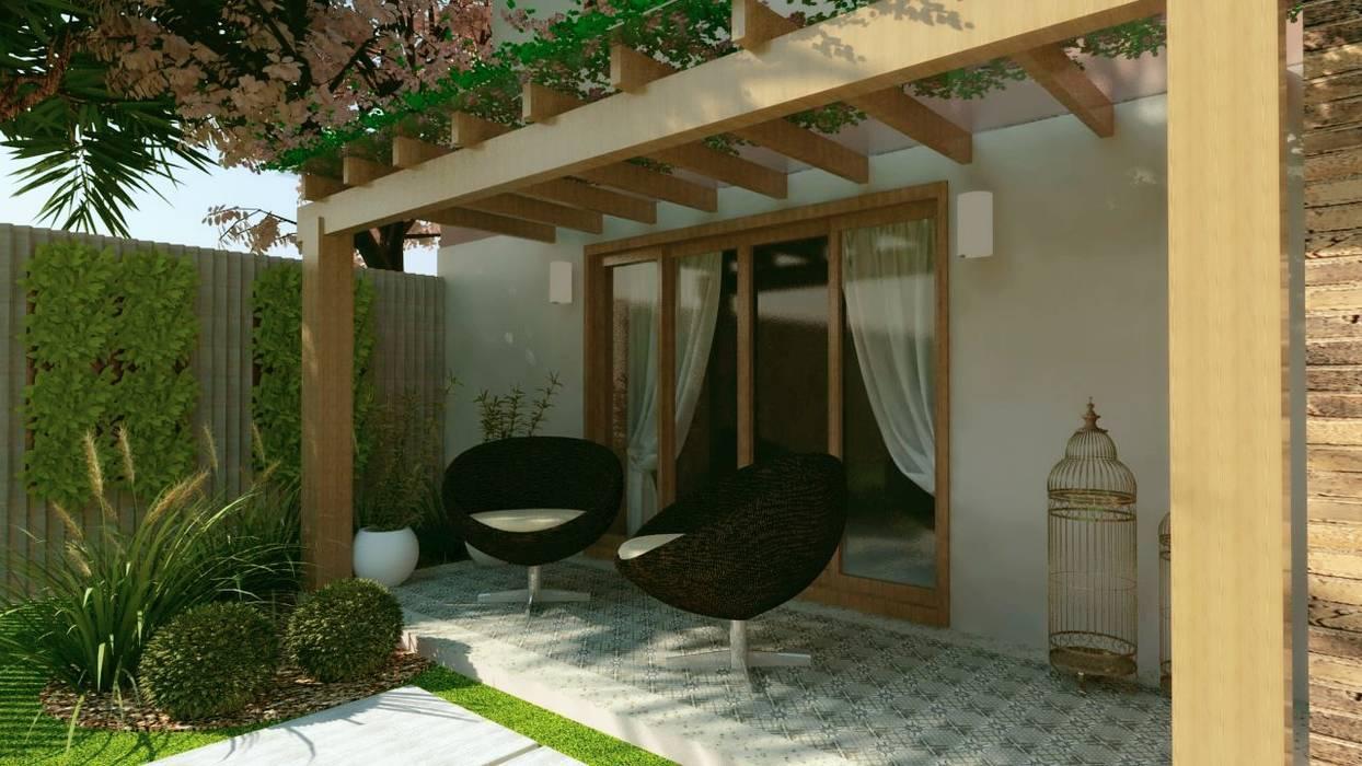 Pergolados de madeira: Garagens e edículas  por Cíntia Schirmer | arquiteta e urbanista,