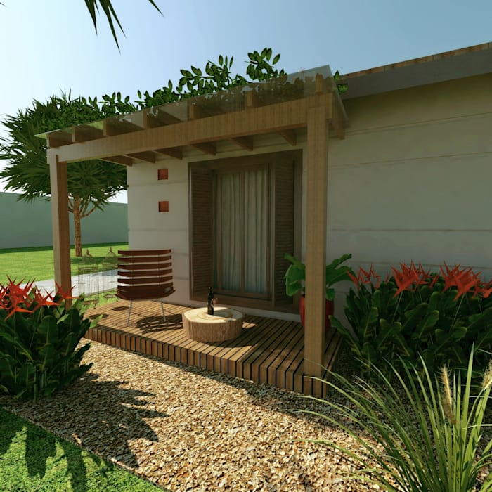 Rustic style garage/shed by Cíntia Schirmer | arquiteta e urbanista Rustic Wood Wood effect