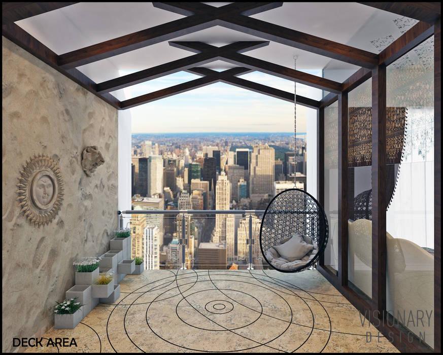 DECK AREA Minimalist balcony, veranda & terrace by VISIONARY DESIGN Minimalist