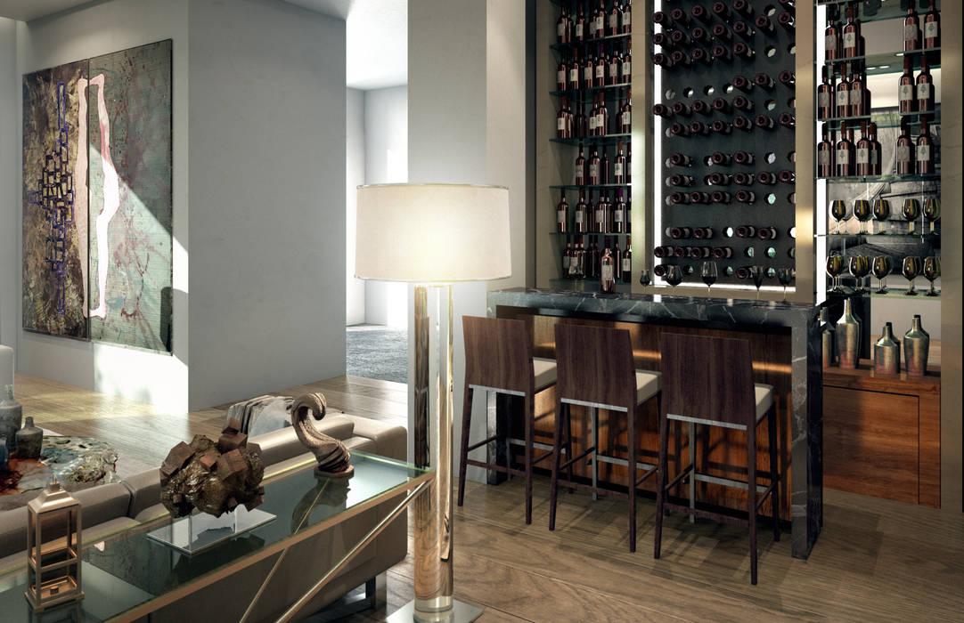 VA STUDIO Ruang Penyimpanan Wine/Anggur Minimalis