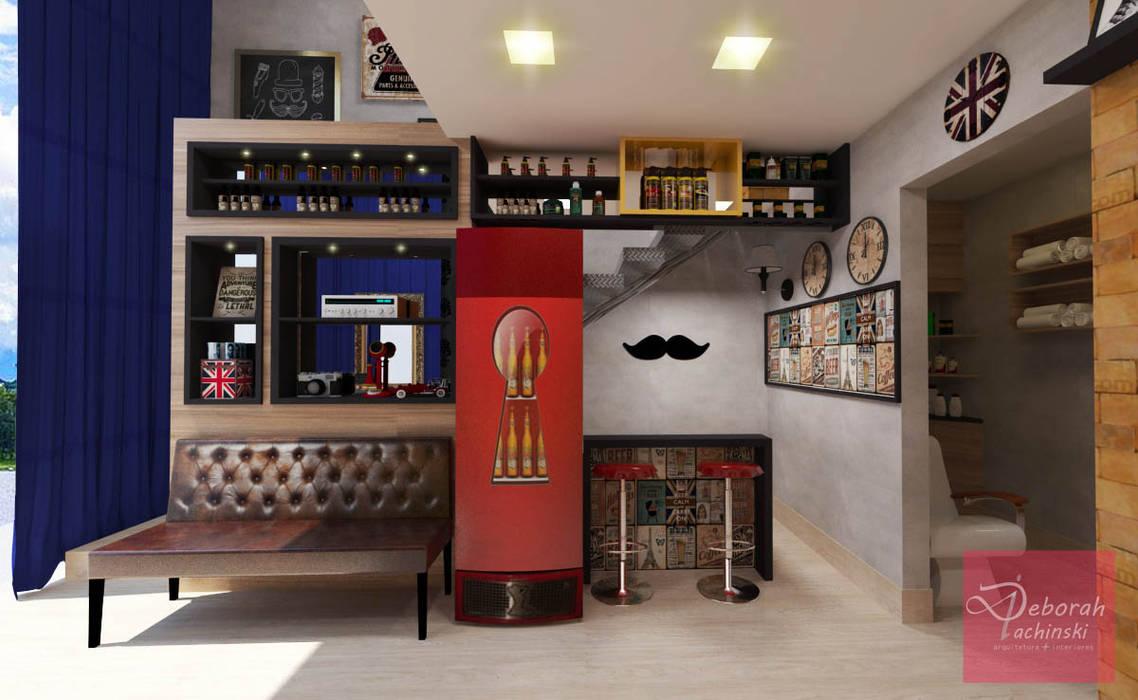 Barbearia retrô / salão de beleza masculino: Adegas  por Deborah Iachinski Arquitetura & Interiores,