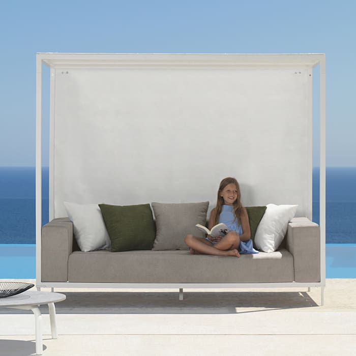 Outdoor sofa with canopy and retractable curtains cleo by talenti ...