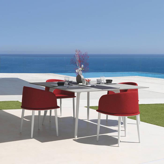 Table de jardin carrée cleo by talenti avec plateau en fibre ...